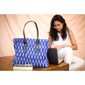 Blue and white Ikat Tote Bag