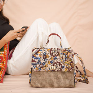 Mustard & Dark Brown Kalamkari Jute Bag