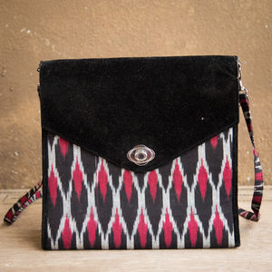Black and Maroon Ikat Suede Bag