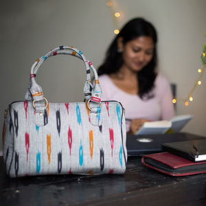 Grey with Multicolor Pattern Ikat Duffle Bag