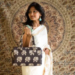Royal Elephant Kalamkari Duffle Bag