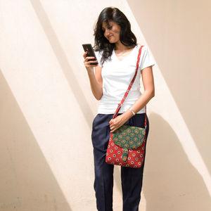 Red & Green Ajrakh Sling Bag