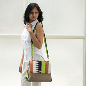 Chartreuse  Green with White and Brown Ikat jute bag