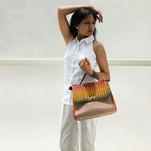 Multicolor with Green Ikat Jute Bag