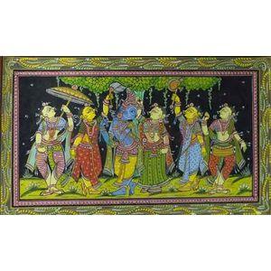 Krishna Radha with Gopis -Colored Pattachitra Painting