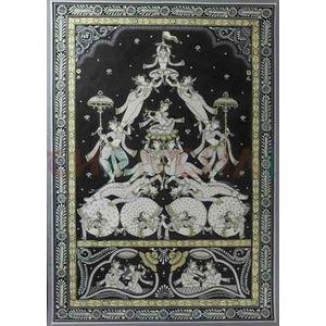 Krishna with Gopis - Black & White Pattchitra Painting