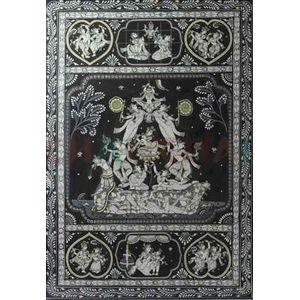 Krishna's Life Phases - Black & White Pattchitra Painting