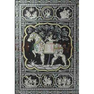 Krishna's Birth Phase and Life - Black & White Pattchitra Painting