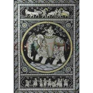 Krishna's as cowherd and Gopis - Black & White Pattchitra Painting