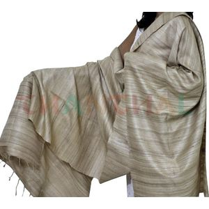 Natural Brown Tussar Katiya Silk Dupatta