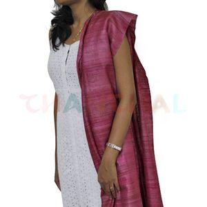 Pink Tussar Gheecha Silk Dupatta