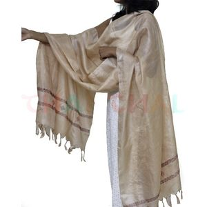 Cream Tussar Silk Dupatta with Kasuti