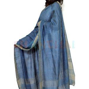 Blue Tussar Munga Silk Dupatta