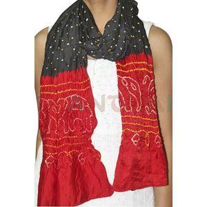 Red & Black Bandhani Stole