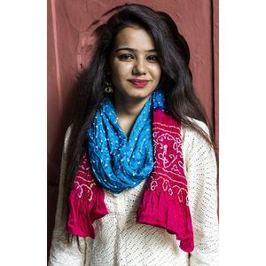 Blue & Pink Bandhani Stole