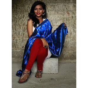 Blue Silk Ikat Dupatta