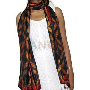 Orange & Black Silk Ikat Stole