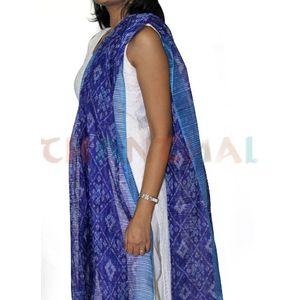 Purple & Blue Silk Ikat Dupatta
