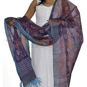 Purple & Rust Silk Ikat Dupatta