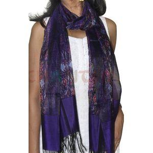 Blue & Purple Silk Ikat Stole