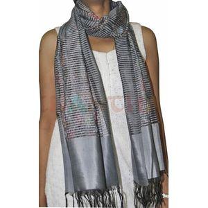 Grey Silk Ikat Stole