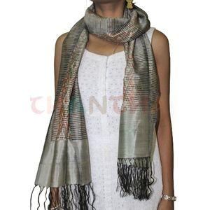Light Grey Silk Ikat Stole
