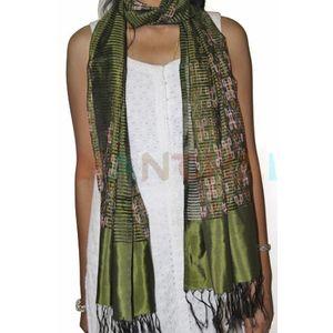 Mehandi Green Silk Ikat Stole