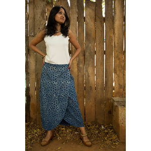 Long Bagru Skirt