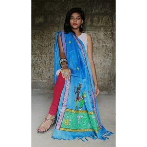 Blue Pattachitra Dupatta