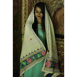Cream Tussar Khadi Pattachitra Dupatta