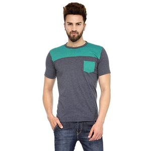 Grey & Green Solid Paneled Round Neck T-shirt with Pocket