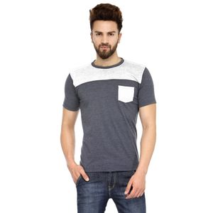 Grey & White Solid Paneled Round Neck T-shirt with Pocket