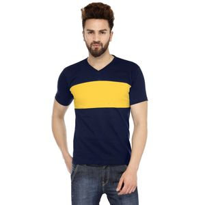 Navy Blue & Yellow Solid Patterned V-Neck T-shirt