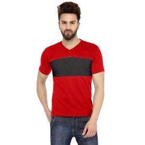 Red & Navy Blue Solid Paneled V-Neck T-shirt