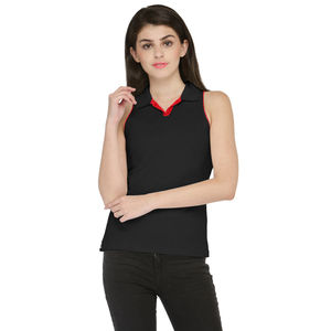 Black & Red Solid Paneled Polo T-shirt