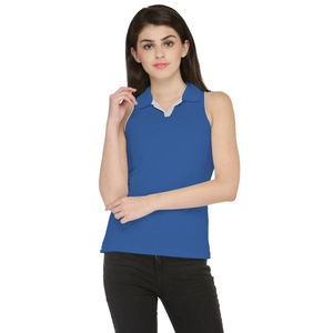 Blue & White Solid Paneled Polo T-shirt