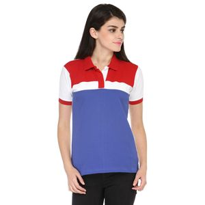 Blue, Red & White Solid Paneled Polo T-shirt