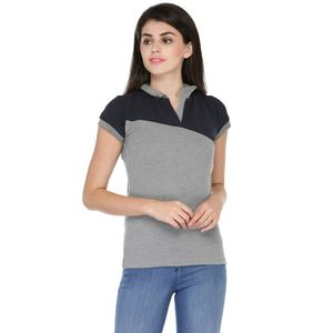 Grey & Blue Solid Paneled Polo T-shirt