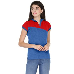 Blue & Red Solid Paneled Polo T-shirt