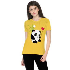 Cute Panda Printed Round Neck T-shirt for Women