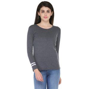 Dark Grey & White Solid Paneled Round Neck T-shirt for Women
