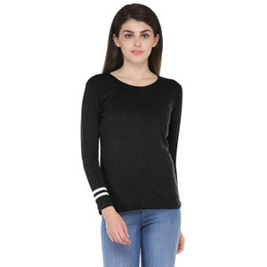 Black & White Solid Paneled Round Neck T-shirt for Women