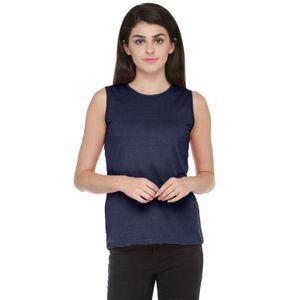 Dark Blue Colored Solid Basic Round Neck T-shirt