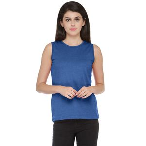 Blue Colored Solid Basic Round Neck T-shirt