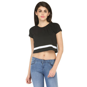 Black & White Cotton Croptop for women