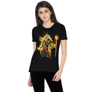 The Angry Shiva Printed Round Neck T-shirt for Women
