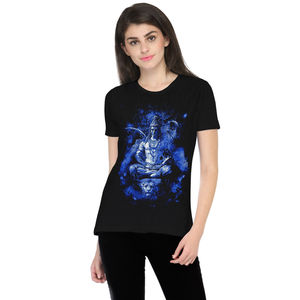 The Lord Shiva Printed Round Neck T-shirt for Women