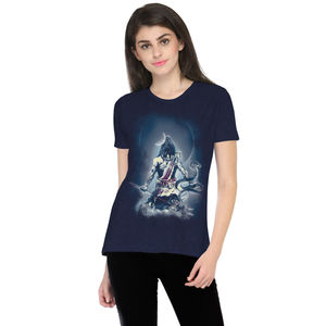 The Lord Shiva Snow Printed Round Neck T-shirt for Women