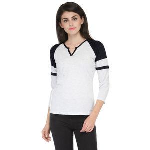 Melange & Black V-neck 3/4 sleeved t-shirt for Women