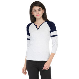 Melange & Dark Blue V- Neck 3/4 sleeved t-shirt for women